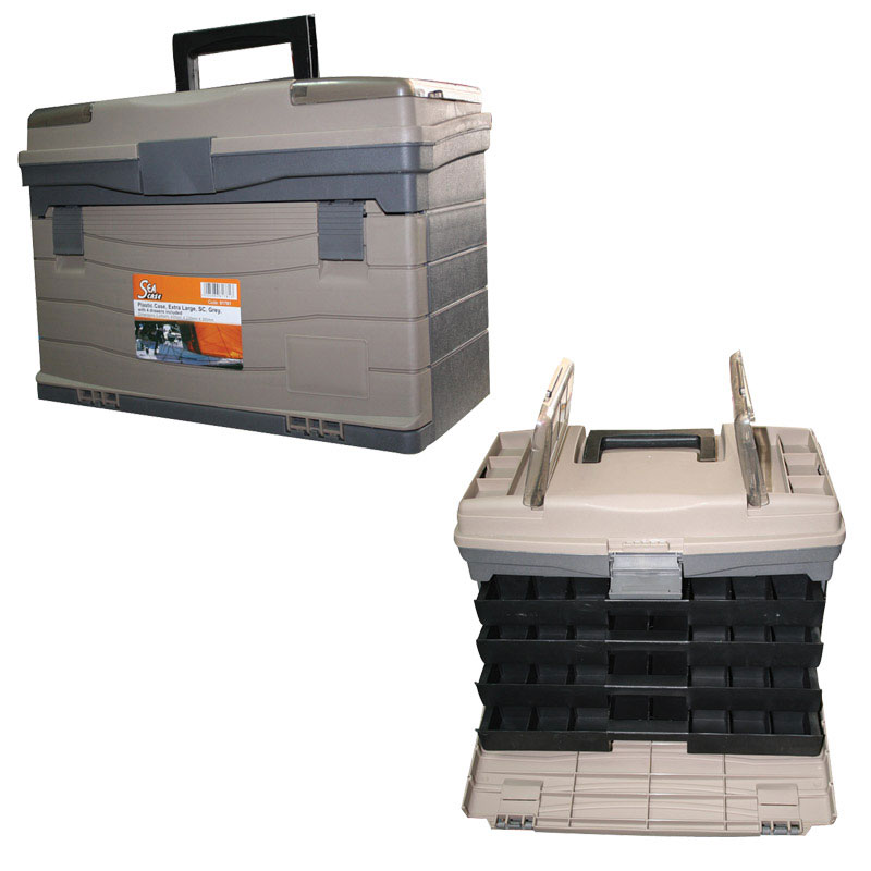 Plastic Case, Extra Large, SC, Grey-Brown, with 4 drawers included
