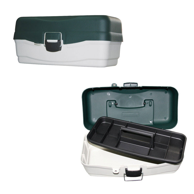Plastic Case, Large, SC, Green-Grey, with 1 Tray & Reinforced Clasp