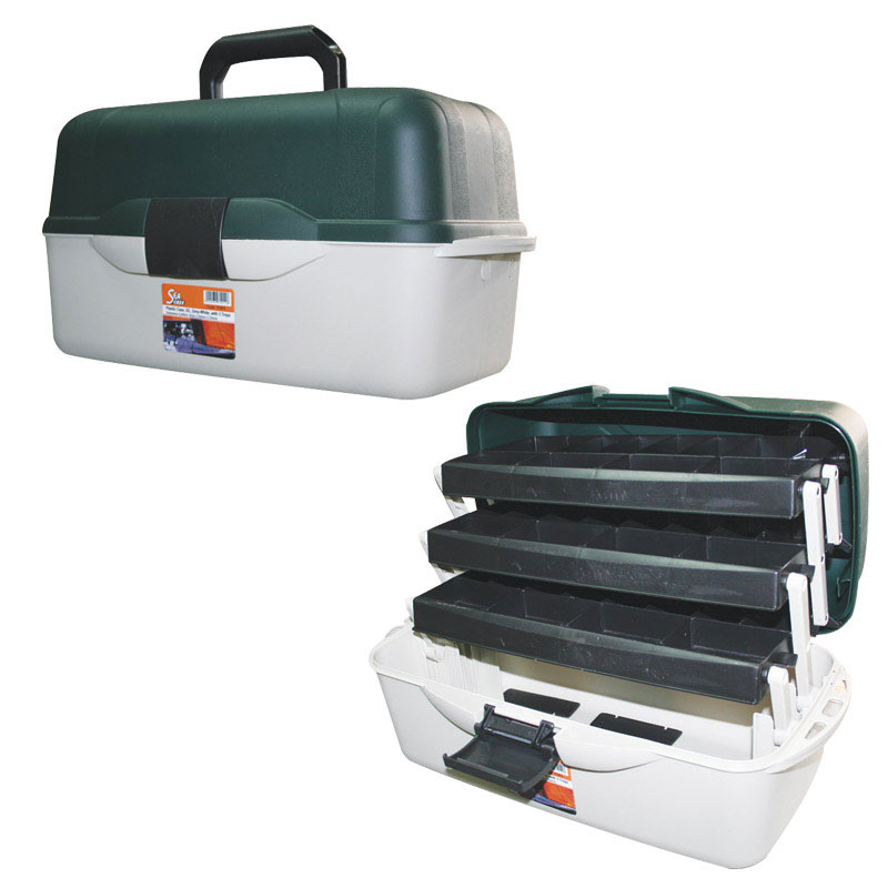 Plastic Case, SC, Green-Grey, with 3 Trays