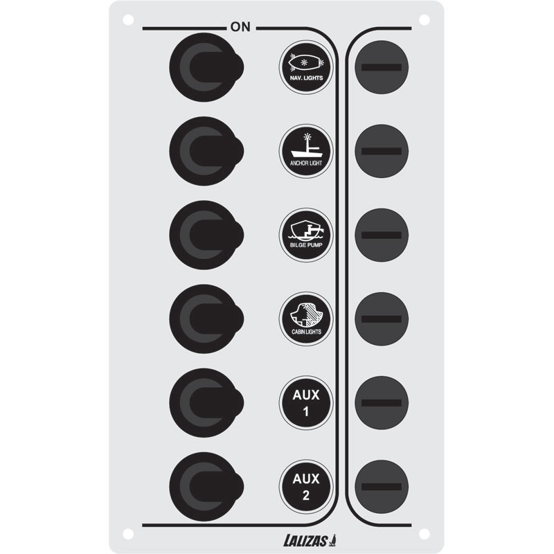 "Switch Panel ''SP6 ""Economy"", 6 waterproof switches, Inox, 12/24V, 100x165mm"